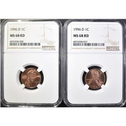 2-1996-D LINCOLN CENTS, NGC MS-68 RED