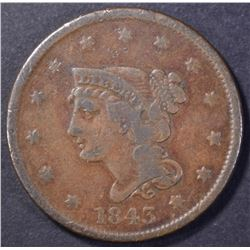 1843 LARGE CENT, LARGE LETTERS, VF/XF