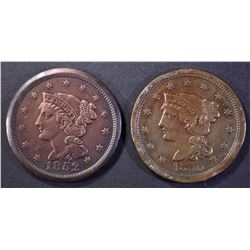 1852 & 1855 LARGE CENT  XF