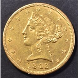 1843 $5 GOLD LIBERTY CH BU