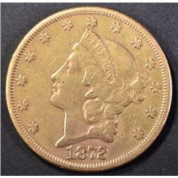 1872-CC $20 GOLD LIBERTY XF