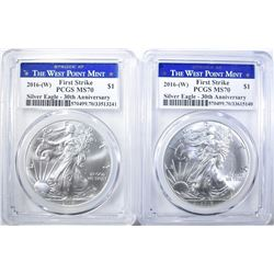 2 2016(W) SILVER EAGLES PCGS MS-70 FIRST STRIKE