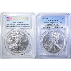 2016 & 2012-W SILVER EAGLES PCCGS MS-70