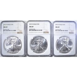 3 2015 SILVER EAGLES NGC MS-69