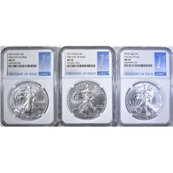 2016, 17, 18 SILVER EAGLES NGC MS-70 FIRST DAY