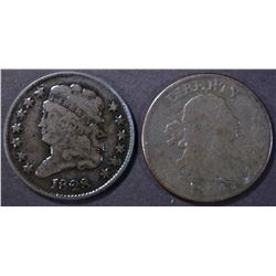 1804 & 1828 VG HALF CENTS