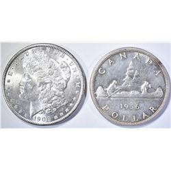 1900-O MORGAN CH BU & 1956 CANADA DOLLAR