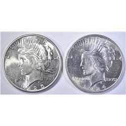 1924 & 25 PEACE DOLLARS BU