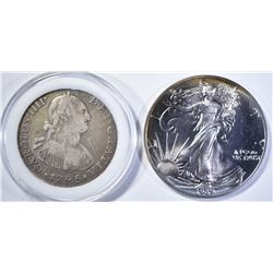 1989 SILVER EAGLE & 1795 4 REALES