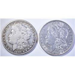 2 MORGAN DOLLARS: 1901-S VF & 1902 CH BU