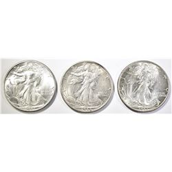 3 WALKING LIBERTY HALF DOLLARS  1944-D CH BU