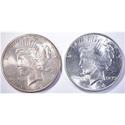 1922-S & 1924 PEACE DOLLARS  CH BU++  NICE!!
