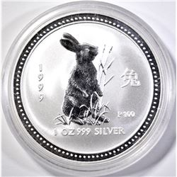 1999 AUSTRALIAN LUNAR  RABBIT  1oz .9999 SILVER