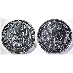 2-2017 2 Oz .9999 SILVER RED DRAGON ENGLAND COINS