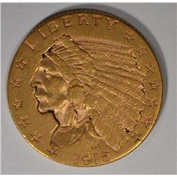 1915 $2.5 GOLD INDIAN AU