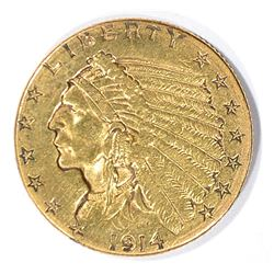 1914-D $2.5 GOLD INDIAN AU CLEANED