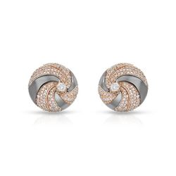 1.02 CTW Diamond Earrings 14K 2Tone Rose Gold - REF-77Y5X