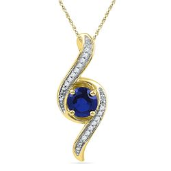 1.05 CTW Created Blue Sapphire Solitaire Diamond Pendant 10KT Yellow Gold - REF-14Y9X