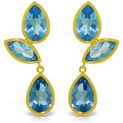 Genuine 13 ctw Blue Topaz Earrings Jewelry 14KT Yellow Gold - REF-58X7M