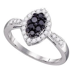 0.56 CTW Black Color Diamond Oval Cluster Ring 10KT White Gold - REF-30K2W
