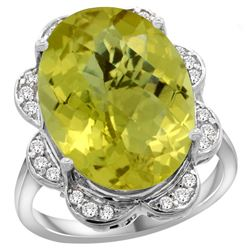 Natural 13.83 ctw lemon-quartz & Diamond Engagement Ring 14K White Gold - REF-117W6K
