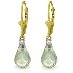 Genuine 4.6 ctw Green Amethyst & Diamond Earrings Jewelry 14KT Yellow Gold - REF-30X2M