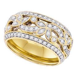 0.75 CTW Diamond Floral Ring 14KT Yellow Gold - REF-97K4W