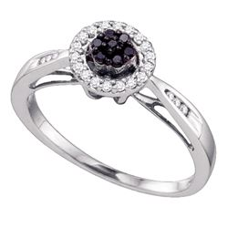 0.20 CTW Black Color Diamond Flower Cluster Halo Bridal Ring 10KT White Gold - REF-19W4K