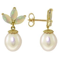 Genuine 9.5 ctw Opal & Pearl Earrings Jewelry 14KT White Gold - REF-34Y3F