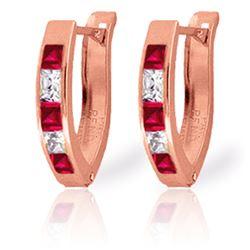 Genuine 1.26 ctw Ruby & White Topaz Earrings Jewelry 14KT Rose Gold - REF-26R2P