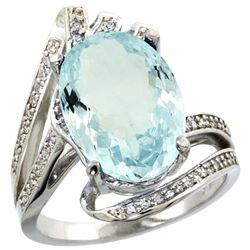 Natural 5.78 ctw aquamarine & Diamond Engagement Ring 14K White Gold - REF-122N4G