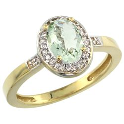 Natural 1.08 ctw Green-amethyst & Diamond Engagement Ring 14K Yellow Gold - REF-31A3V