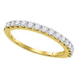 0.50 CTW Pave-set Diamond Single Row Wedding Ring 14KT Yellow Gold - REF-41N3F