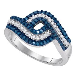 0.50 CTW Blue Color Diamond Ring 10KT White Gold - REF-26H9M