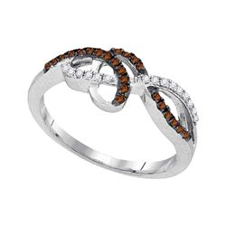 0.20 CTW Cognac-brown Color Diamond Crossover Woven Ring 10KT White Gold - REF-18N2F