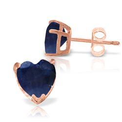 Genuine 3.1 ctw Sapphire Earrings Jewelry 14KT Rose Gold - REF-31Y2F