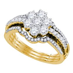 1 CTW Diamond Cluster Bridal Engagement Ring 14KT Yellow Gold - REF-119K9W