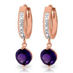 Genuine 2.63 ctw Amethyst & Diamond Earrings Jewelry 14KT Rose Gold - REF-54P9H