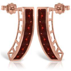 Genuine 4.5 ctw Garnet Earrings Jewelry 14KT Rose Gold - REF-38R5P
