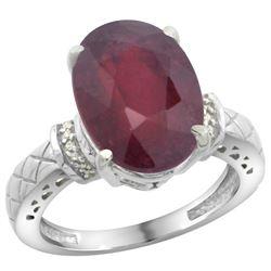 Natural 5.53 ctw Ruby & Diamond Engagement Ring 14K White Gold - REF-67A6V