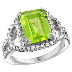 Natural 3.46 ctw peridot & Diamond Engagement Ring 14K White Gold - REF-110A9V