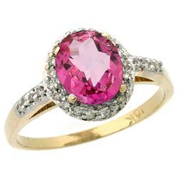 Natural 1.3 ctw Pink-topaz & Diamond Engagement Ring 10K Yellow Gold - REF-25W9K