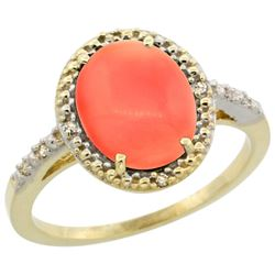 Natural 2.02 ctw Coral & Diamond Engagement Ring 10K Yellow Gold - REF-23X6A