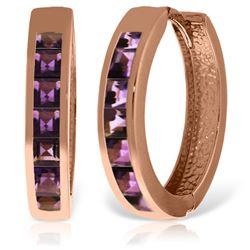 Genuine 1.20 ctw Amethyst Earrings Jewelry 14KT Rose Gold - REF-56P7H