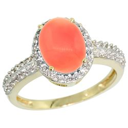 Natural 2.15 ctw Coral & Diamond Engagement Ring 10K Yellow Gold - REF-30X2A