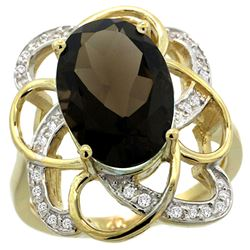Natural 5.59 ctw smoky-topaz & Diamond Engagement Ring 14K Yellow Gold - REF-59Y6X