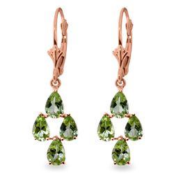 Genuine 4.5 ctw Peridot Earrings Jewelry 14KT Rose Gold - REF-41K2V