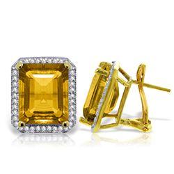 Genuine 10.80 ctw Citrine & Diamond Earrings Jewelry 14KT Yellow Gold - REF-131P7H