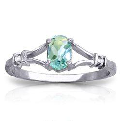 Genuine 0.46 ctw Blue Topaz & Diamond Ring Jewelry 14KT White Gold - REF-27K2V
