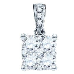 0.17 CTW Diamond Square-shape Cluster Pendant 18KT White Gold - REF-37K5W